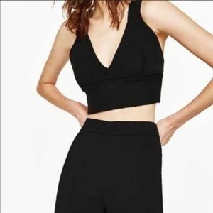 NWT Zara Knit Crop Tank Top M Black